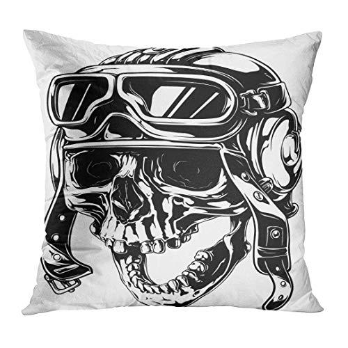 NDJHEH Kissenbezüge Black Pilot Tattoo of Crazy Smiling Old Human Skull in Retro Aviator Helmet with Open Jaw White Skeleton Decorative Pillow Case Home Decor Square 18x18 Inches Pillowcase