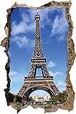 Pixxprint 3D_WD_2060_62x42 Eifelturm Paris blauer Himmel Wanddurchbruch 3D Wandtattoo, Vinyl, bunt, 62 x 42 x 0,02 cm