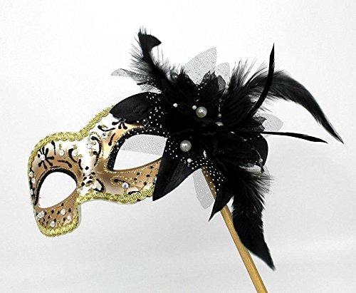 Das Gute Leben Damen Handgehalten Schwarz und Gold mit Blume u. Federn Juwelen Venezianische Maskerade Partei Karneval Maske auf Einem ()