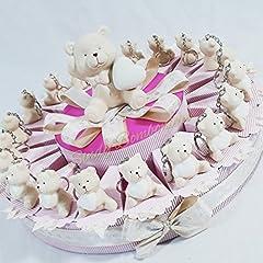 Idea Regalo - TORTA BOMBONIERA orsetto portachiavi cuore bimba battesimo nascita (Torta da 20 fette + centrale)