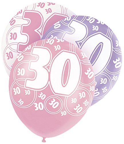 Pack of 6 x !2 inch 30th Birthday Balloons, Pink Mix