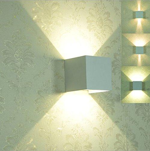 Topmo 12W lampada da parete a LED con angolo di visualizzazione regolabile Impermeabile IP65 Illuminazione a parete 2700K Quadrato bianco caldo Applique a LED per esterni (bianco)