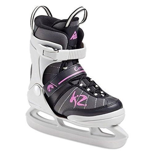 K2 Cirrus Jr Ice Skates Schlittschuhe für Mädchen Größe US 1-5 EURO 32-37 UK 13-4 CM 19.5-23 Pink/Grau/Schwarz The Original SoftBoot