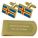 Åland-Inseln Flagge Gold-Manschettenknöpfe Geldscheinklammer Gravur Geschenkset