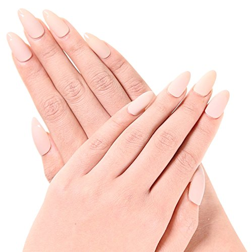 ejiubas Lot de 24 Mat & Brillant Moyen Full Cover faux ongles avec 1 pc sans colle pour ongles