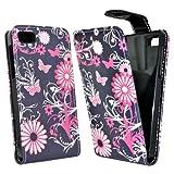 Accessory Master Leopard Blumen Design Elegante Ledertasche für BlackBerry Z10 schwarz/weiß