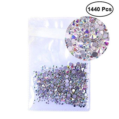rosenice 1440 pc Flatback strass rond gemmes cristal 1.5 mm nail art strass pour la décoration des ongles Housse