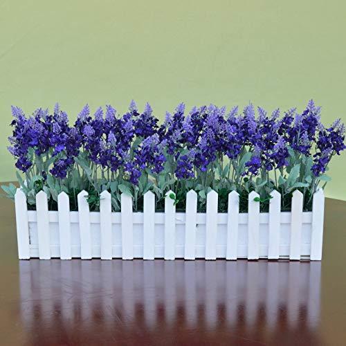 BonSai Simulation Grünpflanze Lavendel gefälschte Blumenkunst Holzzaun BonSai Indoor Wohnzimmer Dekoration Set 50cm White Fence s/Deep Purple Lavendel