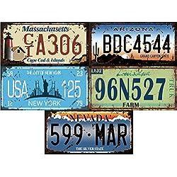 OPO 10 - Lot de 5 PLAQUES D' IMMATRICULATION de Voiture USA en métal, avec Effet Vieilli - répliques de Vraies plaques américaines (5v)