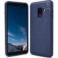 Samsung Galaxy A6 Plus Funda, FindaGift TPU Suave Ultra Delgado [Inastillable][A prueba de choques][Protección completa] Bumper A prueba de huellas Back Cover con base antideslizante para Galaxy A6+ (Azul oscuro)