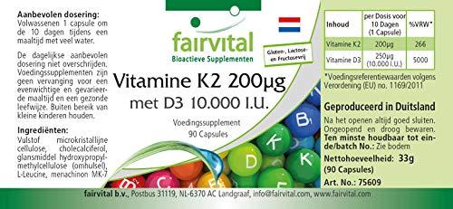 51lfxxwtRzL - Vitamina K2 200 mcg con D3 10000 IU - Altamente dosificado - 90 cápsulas solamente 1 cápsula cada 10 días - ¡Calidad Alemana garantizada!