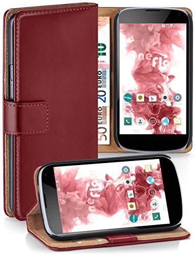 moex® Booklet mit Flip Funktion [360 Grad Voll-Schutz] für LG Google Nexus 4 | Geldfach und Kartenfach + Stand-Funktion und Magnet-Verschluss, Dunkel-Rot