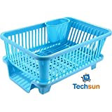 TS WITH TECHSUN 3 in 1 Large Sink Set Dish Rack Drainer Drying Rack Washing Basket with Tray for Kitchen, Dish Rack Organizers, Utensils Tools Cutlery (Blue)