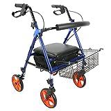 Tochange Allrad-Rollator-Gehhilfe, Klappwagen mit Gepolstertem Sitz + Untersitz-Korb + Höhenverstellbare Griffe & Rückenstütze + Abschließbare Bremsen