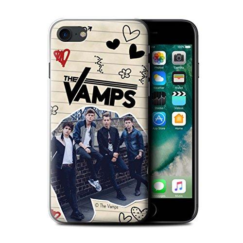 Offiziell The Vamps Hülle / Case für Apple iPhone 7 / Rot Stift Muster / The Vamps Doodle Buch Kollektion Schwarz Stift
