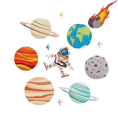 Souarts 11 St Aufnäher Planet Stern Astronaut Kleidung Patch Applikationen zum aufbügeln DIY Aufbügler Set (Astronaut Kleidung)