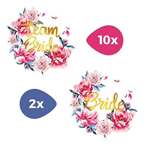 Tattoocrew® 12 x Team Bride Braut Tattoos JGA Watercolor Blumen zum Aufkleben