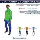 TUTA NIGERIA - 100% POLIESTERE - LOGHI RICAMATI - FONDO PANTALONE IN COSTINA - COLLO, POLSINI E FONDO PANTALONE IN COSTINA - COLORI FLUO