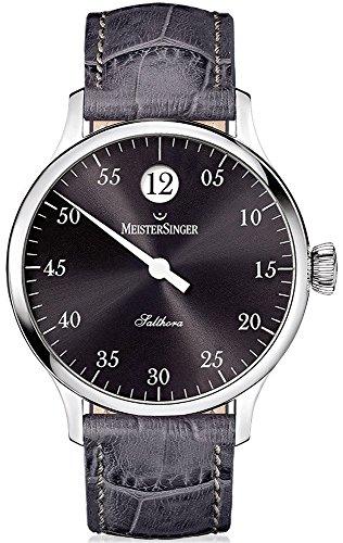 MeisterSinger Salthora - Reloj de Pulsera para Hombre, con Esfera Negra analógica y Cristal de Zafiro, Correa de Piel de Color Gris, Reloj clásico Hombres SH907