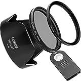 Lumos Passion Connect Juego de accesorios compatible con Nikon Kit D5500D5300D3300D3400& AF-P DX NIKKOR 18–55mm f/3.5–5.6VR/disparador remoto ML-L3& Parasol HB de N106& 55mm filtro UV & filtro polarizador cpl