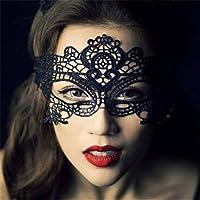 Unicoco Máscara de Encaje para Mujeres Antifaz de Carnaval Halloween Disfraces Juguetes para pareja Color Negro 1 Unidad