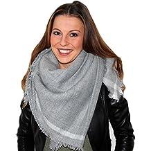 XXL Damen Schal Tuch Halstuch Poncho Wolle Pashmina in Farbe Grau Größe 200cm x100cm von DesiDo®
