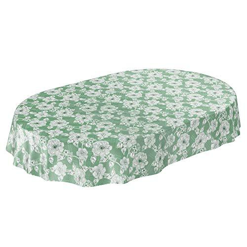 Anro - tovaglia in tela cerata pop art, motivo floreale, tinta unita, tela cerata., verde, oval 140 x 240cm schnittkante