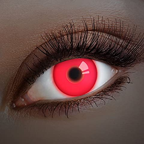 UV Couleur des lentilles de contact Red In Your Eyes de aricona – années couvrant la lentille à terme pour les yeux sombres et claires- sans correction- les lentilles colorées pour le carnaval- des soirées à thème et des costumes d'Halloween