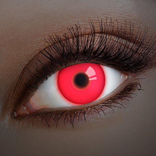 aricona Kontaktlinsen Farblinsen rote UV Kontaktlinsen farbig Halloween Schminke Vampir Kostüm (Vampiros Halloween Caras De)