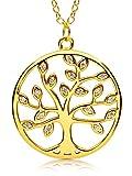 VIASOUL Lebensbaum Kette I Baum des Lebens Halskette für Damen I Tree of Life aus 925er Silber I Mit 585er Gold überzogen I Der Original Lebensbaum (Gold)