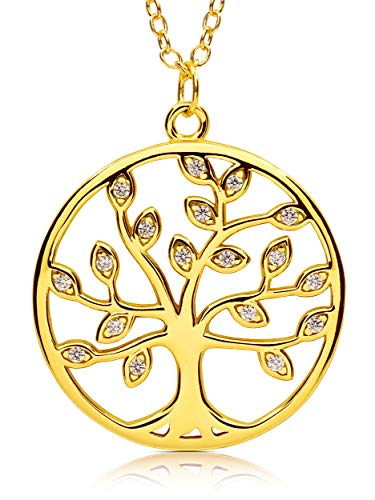 VIASOUL® Lebensbaum Kette I Baum des Lebens Halskette für Damen I Tree of Life aus 925er Silber I Mit 585er Gold überzogen I Der Original Lebensbaum (Gold)