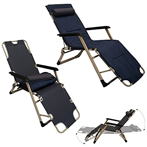 Folding Garden Lounger incl. removable cushion and headrest | Sunlounger for sunbathing | Steel Frame | Load bearing capacity max 150 kg | Gray with dark blue | 178cm