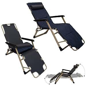 chaise longue pliante transat pliant et inclinable appuie t te et coussin amovibles. Black Bedroom Furniture Sets. Home Design Ideas