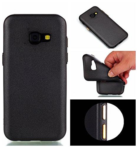 YHUISEN Galaxy A3 2017 Case, Solid Color Matte Slim Fit Soft TPU Gel Langlebig Schock Absorbing Schutzhülle für Samsung Galaxy A3 2017 A320 ( Color : Black ) Black