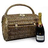 75cl Bollinger Champagne con una cesta de picnic de mimbre Harrington para 2 personas - Ideas de regalos para cumpleaños, Navidad, aniversario, negocios, empresas, bodas, felicitaciones