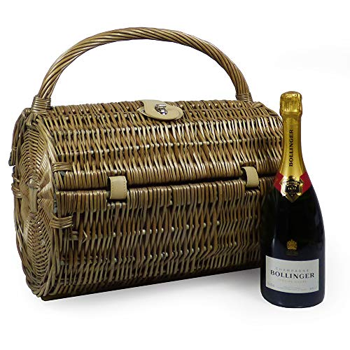 75cl Bollinger Champagne with a 2 Person Harrington Wicker Picnic Basket - Gift Ideas for Birthday, Christmas, Anniversary, Business, Corporate, Wedding, Congratulations and Thank You