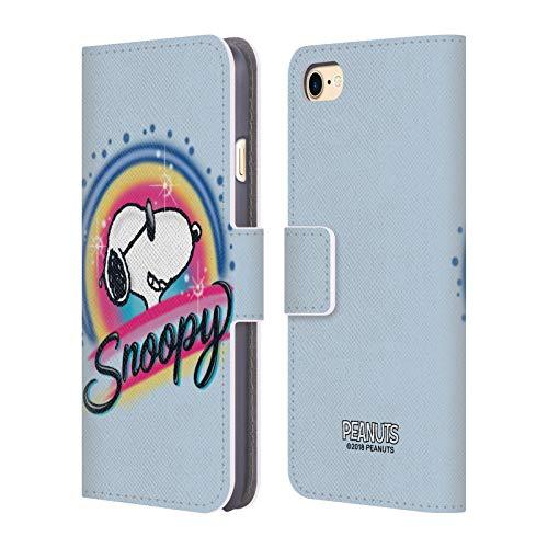 Head Case Designs Offizielle Peanuts Farbige Sonnenbrille Snoopy Plankenweg-Spritzpistole Leder Brieftaschen Huelle kompatibel mit iPhone 7 / iPhone 8