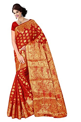 Boutique On Palm Bollywood Style New Generation Concept Party Wear Saree Banarasi Silk Sarees (Red Jacquard Royal Pallu Bridal Panel)