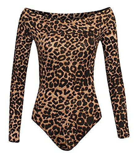 Friendz Trendz -Tuta a maniche lunghe con maniche lunghe Bardot a manica lunga LOEPARD BROWN