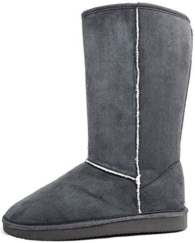 Damenschuhe/Boots aus Wildlederimitat, wärmendes Futter Grau