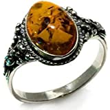 Baltic Honey Amber and Sterling Silver Small Oval Ring, Sizes J, L, N, P, Q, S, T, V