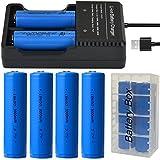 4pzzi 18650 batteria 3000 mAh e Caricabatterie USB per batterie ricaricabili con porta USB for 18650,18350,16340(RCR123), 26650 rechargeable batteries