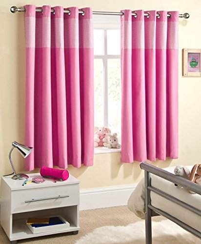 Enhanced Living Curtain Panel (Set of 2) Size: 117cm W x 137cm L, Colour: Pink