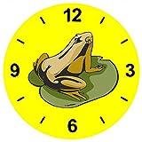 'Cristal Reloj 'Rana en el mar hojas Estanque de ranas Quark de reloj de pared estante de...