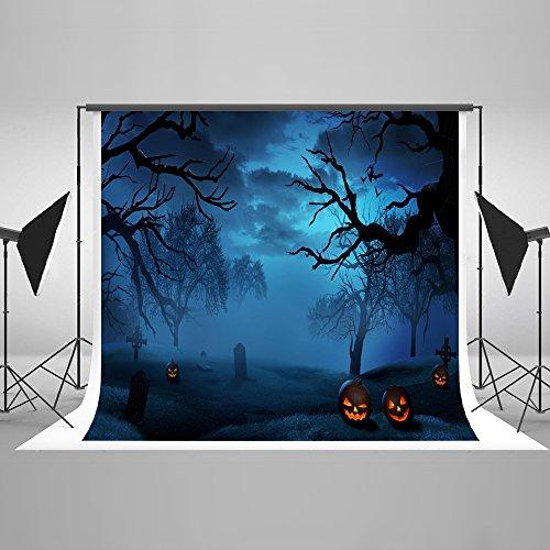 Kate 7×5ft(2.2×1.5m) Halloween Dunkle Nacht Fotografie Hintergrund Wald Kürbisse Horror Foto Hintergrund für Fotostudio Requisiten Baumwolle Tuch Grab Grabstätte Halloween Foto Hintergrund