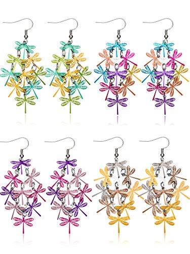 meekoo 4 Paar Bunte Hohle Haken Ohrringe Libelle Blatt Blume Schmetterling Tropfen Baumeln Ohrringe für Damen Mädchen Gefallen (Stil Set 1) -