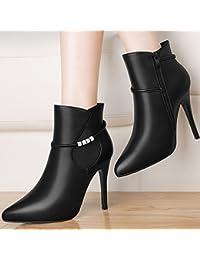 GTVERNH-9 5 Cm Negro Zapatos De Tacon Alto Zapatos De Mujer Y La Cachemira Martin Señaló En Otoño E Invierno Botas...