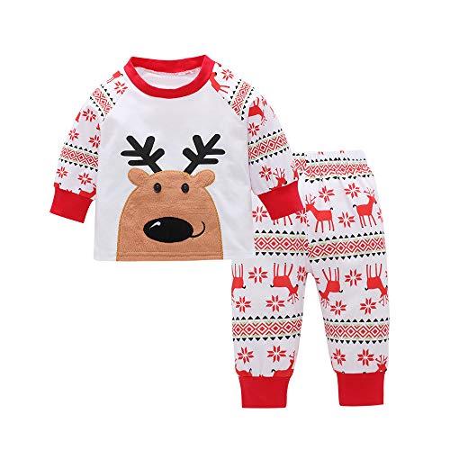 Riou Weihnachten Baby Kleidung Set Kinder Pullover Pyjama Outfits Set Familie Kleinkind Kinder Baby Mädchen Deer t-Shirt Tops + Hosen Weihnachten Outfits (110, ()