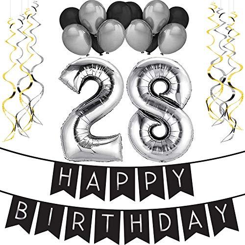 """Paquete para Fiesta de Cumpleaños Número 28 """"Happy Birthday""""- Paquete con Banderín de Feliz Cumpleaños Negro y Plateado, Globos y Serpentinas- Decoración para Cumpleaños – Artículos para la Fiesta del 28 Cumpleaños"""