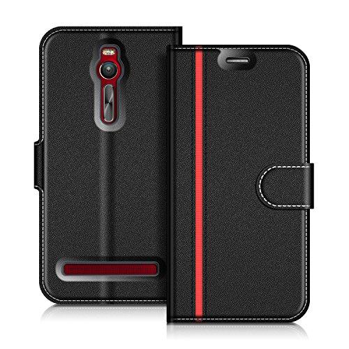 COODIO ASUS Zenfone 2 ZE551ML Hülle Leder Lederhülle Ledertasche Wallet Handyhülle Tasche Schutzhülle mit Magnetverschluss/Kartenfächer für ASUS Zenfone 2 ZE551ML, Schwarz/Rot